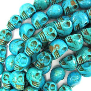 "18mm blue turquoise carved skull beads 15.5"" strand 
