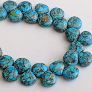 Shop Turquoise Bead Shapes! 8.5mm Mojave Blue Copper Turquoise Plain Heart Beads, Copper Turquoise Fancy Heart Beads, Copper Turquosie Necklace (3.5IN To 7IN Options) | Natural genuine other-shape Turquoise beads for beading and jewelry making.  #jewelry #beads #beadedjewelry #diyjewelry #jewelrymaking #beadstore #beading #affiliate #ad
