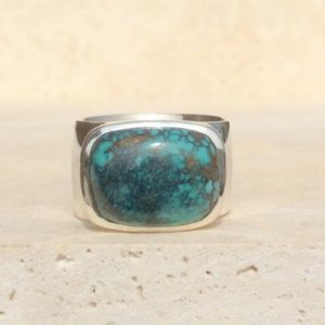 Shop Turquoise Rings! Turquoise Silver Mens Ring, Silver Gemstone Ring, Wide Band Silver Gemstone Ring, Gift For Him | Natural genuine Turquoise mens fashion rings, simple unique handcrafted gemstone men's rings, gifts for men. Anillos hombre. #rings #jewelry #crystaljewelry #gemstonejewelry #handmadejewelry #affiliate #ad
