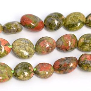 "Shop Unakite Chip & Nugget Beads! 8-10MM Lotus Pond Unakite Beads Pebble Nugget AAA Genuine Natural Gemstone Loose Beads 15.5"" / 7.5"" Bulk Lot Options (108532) 