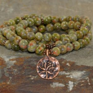 Shop Unakite Necklaces! 108 Unakite Mala Beads, Feminine Yoga Mala Beads, Gift for Her, Heart Chakra, Metaphysical Healing Crystals, Love + Compassion + Kindness | Natural genuine Unakite necklaces. Buy crystal jewelry, handmade handcrafted artisan jewelry for women.  Unique handmade gift ideas. #jewelry #beadednecklaces #beadedjewelry #gift #shopping #handmadejewelry #fashion #style #product #necklaces #affiliate #ad