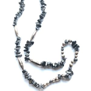 Shop Hematite Necklaces! Vintage Native American black hematite and sterling silver beaded necklace | Natural genuine Hematite necklaces. Buy crystal jewelry, handmade handcrafted artisan jewelry for women.  Unique handmade gift ideas. #jewelry #beadednecklaces #beadedjewelry #gift #shopping #handmadejewelry #fashion #style #product #necklaces #affiliate #ad
