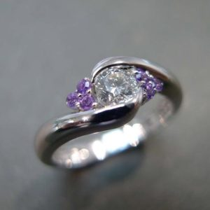 0.25ct Diamond and Amethyst Engagement Ring in 14K White Gold | Natural genuine Amethyst rings, simple unique alternative gemstone engagement rings. #rings #jewelry #bridal #wedding #jewelryaccessories #engagementrings #weddingideas #affiliate #ad