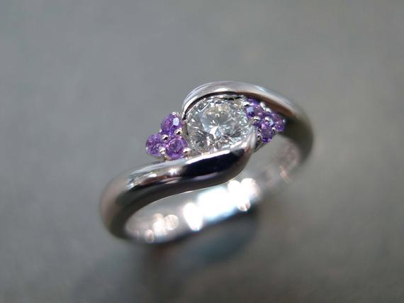 0.25ct Diamond And Amethyst Engagement Ring In 14k White Gold
