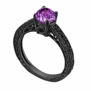 0.70 Carat Amethyst Engagement Ring, Wedding Ring 14K Black Gold Vintage Antique Style Engraved Unique Certified Handmade | Natural genuine Array rings, simple unique alternative gemstone engagement rings. #rings #jewelry #bridal #wedding #jewelryaccessories #engagementrings #weddingideas #affiliate #ad