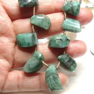 Shop Emerald Chip & Nugget Beads! 1/2 Strand, 6 Emerald Gemstones, Raw Emerald Step Cut Big Nugget Beads, May Birthstone, Earring Necklace finding, B-0128 | Natural genuine chip Emerald beads for beading and jewelry making.  #jewelry #beads #beadedjewelry #diyjewelry #jewelrymaking #beadstore #beading #affiliate #ad