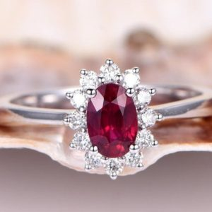 1.42ct Ruby Engagement Ring Ruby Ring Vintage Floral Moissanite Halo Plain Gold Wedding Band 14K White Gold Birthstone Ring Promise Ring | Natural genuine Array rings, simple unique alternative gemstone engagement rings. #rings #jewelry #bridal #wedding #jewelryaccessories #engagementrings #weddingideas #affiliate #ad