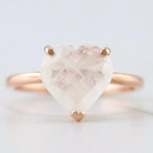 Shop Rainbow Moonstone Rings! 1.70ct Rainbow Moonstone Heart Solitaire Ring | Solid 14K Gold | Fine Jewelry | Free Shipping | Natural genuine Rainbow Moonstone rings, simple unique handcrafted gemstone rings. #rings #jewelry #shopping #gift #handmade #fashion #style #affiliate #ad
