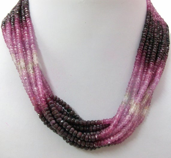 1 Strand 4.5mm Ruby Rondelle Beads Faceted Gemstone, Natural Ruby Beads Rondelle Shaded Strand, Ruby Shaded Rondelle Faceted Beads Gemstone