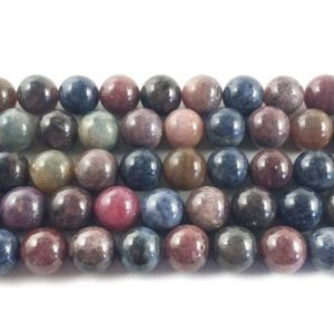 Shop Sapphire Round Beads! 10mm Ruby sapphire round beads Genuine Natural Gemstone | Natural genuine round Sapphire beads for beading and jewelry making.  #jewelry #beads #beadedjewelry #diyjewelry #jewelrymaking #beadstore #beading #affiliate #ad