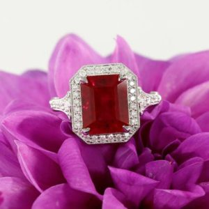 10x8mm Emerald Ruby Engagement Ring Halo Ruby Ring Gemstone Ring Birthstone Ring White Gold Ring Diamond Ring Emerald cut ruby | Natural genuine Array rings, simple unique alternative gemstone engagement rings. #rings #jewelry #bridal #wedding #jewelryaccessories #engagementrings #weddingideas #affiliate #ad