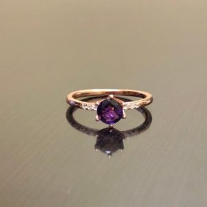 14K Rose Gold Diamond Amethyst Engagement Ring – Art Deco Rose Gold Amethyst Diamond Wedding Ring – Art Deco Amethyst Rose Gold Solitaire | Natural genuine Array rings, simple unique alternative gemstone engagement rings. #rings #jewelry #bridal #wedding #jewelryaccessories #engagementrings #weddingideas #affiliate #ad