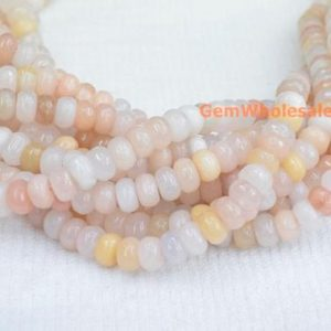 "15.5"" 5x8mm light pink aventurine roundel faceted beads, gemstone, semi-precious stone, natural light yellow color rondelle beads QGCO 