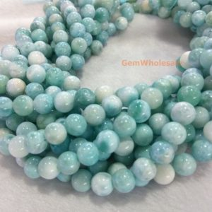 "Shop Larimar Round Beads! 15.5"" 8mm A Natural Genuine Larimar Round Beads, Milky White With Light Blue Color, Milky Light Blue Gemstone, A Quality, dgg 