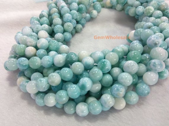 """15.5"""" 8mm A Natural Genuine Larimar Round Beads, Milky White With Light Blue Color, Milky Light Blue Gemstone, A Quality,dgg"""