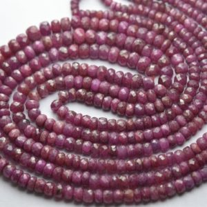 Shop Ruby Rondelle Beads! 15 Inches Strand,Natural Ruby Faceted Rondelles,Size 3.5-5mm Approx | Natural genuine rondelle Ruby beads for beading and jewelry making.  #jewelry #beads #beadedjewelry #diyjewelry #jewelrymaking #beadstore #beading #affiliate #ad