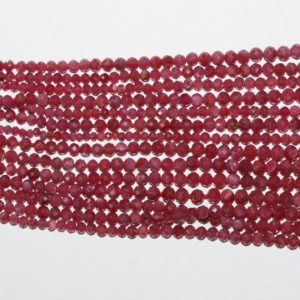 "Shop Ruby Round Beads! 15"" St Ruby Graduated Faceted Round Beads 1-3mm.-Strand 40cm. 