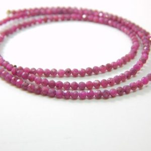 Shop Ruby Round Beads! 16 Inches Faceted Ruby Round Beads Size 2 mm Approx Natural Gemstone Beads Top Quality | Natural genuine round Ruby beads for beading and jewelry making.  #jewelry #beads #beadedjewelry #diyjewelry #jewelrymaking #beadstore #beading #affiliate #ad