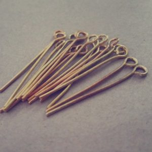 Shop Head Pins & Eye Pins! 200 pcs  gold color eye pins 22mm | Shop jewelry making and beading supplies, tools & findings for DIY jewelry making and crafts. #jewelrymaking #diyjewelry #jewelrycrafts #jewelrysupplies #beading #affiliate #ad