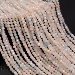 Shop Morganite Round Beads! 2MM Morganite Gemstone Pink Micro Faceted Round Grade Aa Beads 15.5inch BULK LOT 1,6,12,24 And 48 (80010213-A192) | Natural genuine round Morganite beads for beading and jewelry making.  #jewelry #beads #beadedjewelry #diyjewelry #jewelrymaking #beadstore #beading #affiliate #ad
