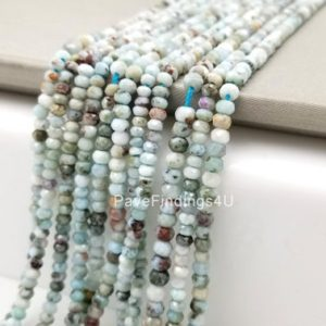 "Shop Larimar Faceted Beads! 3.5MM Larimar Beads Grade AAA Genuine Natural Gemstone Faceted Round Loose Beads 15"", PRP105-E409 