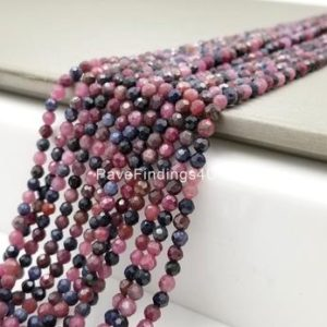 "Shop Sapphire Round Beads! 4MM Ruby Sapphire Beads Grade AAA Genuine Natural Gemstone Full Strand Faceted Round Loose Beads 15.5"", PRP109-E409 