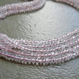 "Shop Morganite Rondelle Beads! 5-10 Strand Morganite Gemstone 3-4mm Faceted Rondelle Beads, Natural Morganite Stone Faceted Beads 12.5"" Strand 