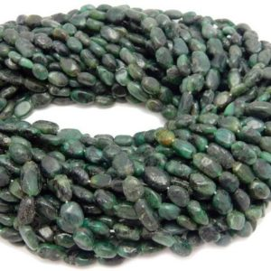 Shop Emerald Chip & Nugget Beads! 5 FULL STRANDS- Dyed Emerald Tumbled Oval Beaded Strand – (S101B11-03) | Natural genuine chip Emerald beads for beading and jewelry making.  #jewelry #beads #beadedjewelry #diyjewelry #jewelrymaking #beadstore #beading #affiliate #ad