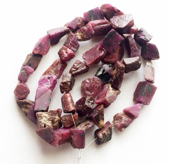 6-12mm Ruby Rough Strand, Natural Ruby Beads, Rough Indian Ruby Gemstones, Raw Ruby, Loose Ruby Beads (5pcs To 10pcs Options)  - Ds3695
