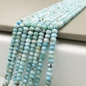 "Shop Larimar Rondelle Beads! 6MM Larimar Beads Grade AAA Genuine Natural Gemstone Faceted Round Loose Beads 15"", PRP106-E409 
