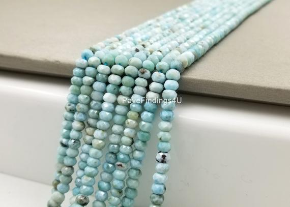 "6mm Larimar Beads Grade Aaa Genuine Natural Gemstone Faceted Round Loose Beads 15"", Prp106-e409"