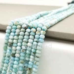 "4MM/6MM Larimar Beads Grade AAA Genuine Natural Gemstone Faceted Round Loose Beads 15"", PRP106-A0325 