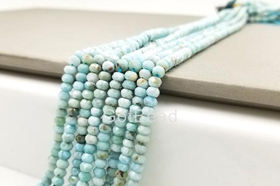 """4mm/6mm Larimar Beads Grade Aaa Genuine Natural Gemstone Faceted Round Loose Beads 15"""", Prp106-a0325"""