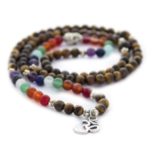 Shop Chakra Bracelets! 108 mala wrap bracelet 7 chakra bracelet tiger eye bracelet 108 mala necklace Om bracelet yoga meditation bracelet tiger eye mala beads | Shop jewelry making and beading supplies, tools & findings for DIY jewelry making and crafts. #jewelrymaking #diyjewelry #jewelrycrafts #jewelrysupplies #beading #affiliate #ad