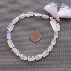 Shop Rainbow Moonstone Bead Shapes! 8 Inches WHITE RAINBOW MOONSTONE Faceted Tumble Shape Tube Natural Gemstone Briolette Center Drill Beads Line | Beads For Jewelry | Gemmore | Natural genuine other-shape Rainbow Moonstone beads for beading and jewelry making.  #jewelry #beads #beadedjewelry #diyjewelry #jewelrymaking #beadstore #beading #affiliate #ad