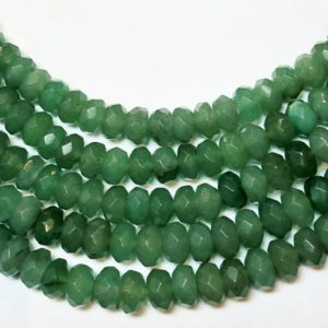 "Shop Aventurine Rondelle Beads! 8mm Faceted Rondelle Green Aventurine Gemstone Beads. Full 15"" strand of AA/AAA grade faceted beads. Pale Green ""Jade"". 