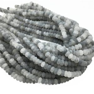 Shop Quartz Crystal Rondelle Beads! 8x5mm Matte Gray Quartz Rondelle Beads , 15.5 Inch Strand,Approx 78Beads | Natural genuine rondelle Quartz beads for beading and jewelry making.  #jewelry #beads #beadedjewelry #diyjewelry #jewelrymaking #beadstore #beading #affiliate #ad