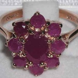 9K Rose Gold 2.52ct Natural Ruby Engagement Ring, English Antique Style Cluster Flower Ring – Customize:Platinum,9K,10K,14K,18K Gold | Natural genuine Array rings, simple unique alternative gemstone engagement rings. #rings #jewelry #bridal #wedding #jewelryaccessories #engagementrings #weddingideas #affiliate #ad