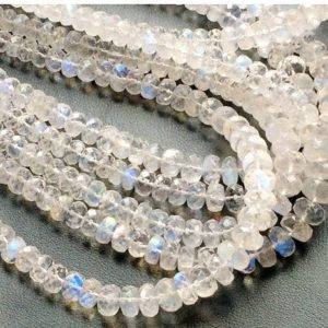 Shop Rainbow Moonstone Beads! AAAgems, Rainbow Moonstone Rondelle, 3.5mm To 7mm Beads, Faceted Rondelle Beads, Rainbow Moonstone Necklace, 4 Inch Strand | Natural genuine beads Rainbow Moonstone beads for beading and jewelry making.  #jewelry #beads #beadedjewelry #diyjewelry #jewelrymaking #beadstore #beading #affiliate #ad