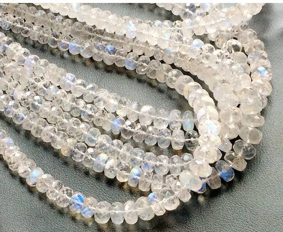 3.5-7mm Rainbow Moonstone Faceted Rondelle, Beautiful Rainbow Faceted Rondelles, Rainbow Moonstone Beads For Jewelry (8in To 16in Options)