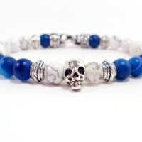Blue Agate And Howlite Bracelet With Clasp, mens Bracelet, blue Agate Men Bracelet, skull Bracelet, gift For Men, men Gemstone Bracelet +gift Box | Natural genuine Gemstone jewelry. Buy handcrafted artisan men's jewelry, gifts for men.  Unique handmade mens fashion accessories. #jewelry #beadedjewelry #beadedjewelry #shopping #gift #handmadejewelry #jewelry #affiliate #ad