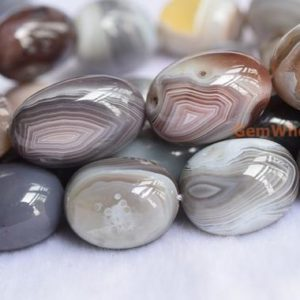 "Shop Agate Beads! 15.25"" 18X25mm botswana agate nugget, High quality botswana agate tumbled beads, Gemstone nugget, big botswana agate nugget beads HGZ 