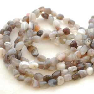 "Shop Agate Chip & Nugget Beads! High Quality Grade A Natural Botswana Agate Semi-Precious Gemstone Tumbled Stone Nugget Pebble Beads – approx 5mm – 8mm – 15.5"" strand 