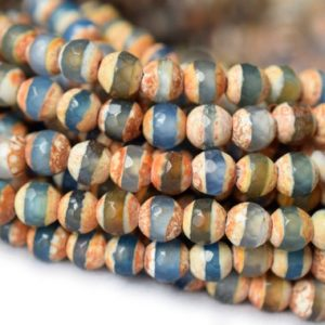 """Shop Agate Beads! 14.5"""" 6mm Blue brown Bulk tibetan DZI agate round faceted beads, Antique Blue Dzi agate with brown stripe, semi-precious stone 