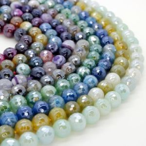 Shop Agate Faceted Beads! Colorful Agate Faceted Round Green Blue Lime Yellow Purple Gray Rainbow Loose Gemstone Beads – 8mm | Natural genuine faceted Agate beads for beading and jewelry making.  #jewelry #beads #beadedjewelry #diyjewelry #jewelrymaking #beadstore #beading #affiliate #ad