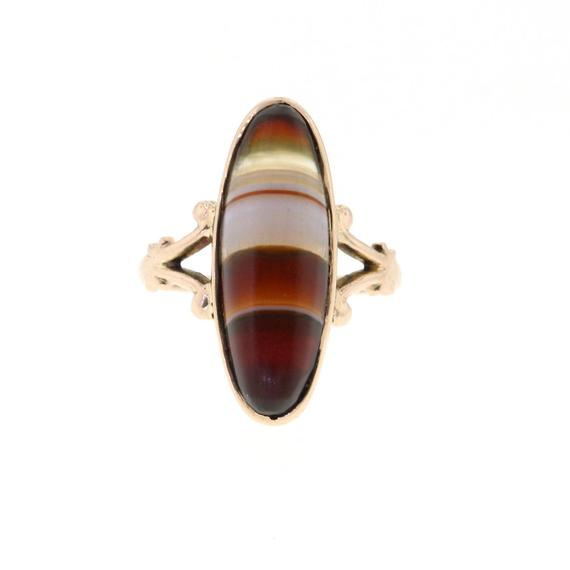 Antique Agate Ring, Victorian Yellow Gold Banded Agate Ring, Vintage Agate Ring