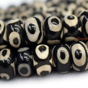 "14.5"" 8x12mm/10x14mm Black Bulk tibetan DZI agate rondelle beads, semi-precious stone, three eye ZGYG 