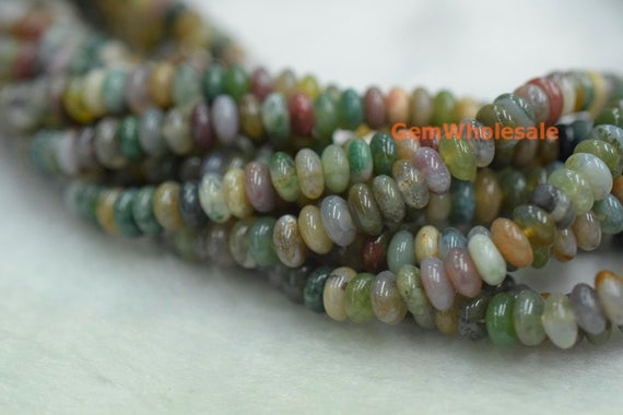 """15.5"""" 6x3mm Indian Agate Rondelle Beads, Indian Agate Disc Beads, Indian Agate Roundel Beads 6x3mm, Multi Color Agate"""