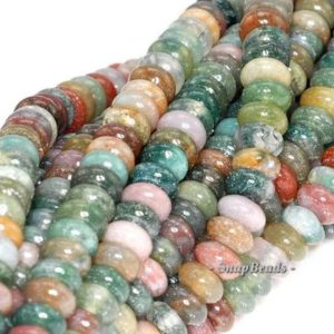Shop Agate Rondelle Beads! 6x4mm Sanctuary Indian Agate Gemstone Grade AAA Rondelle 6x4mm Loose Beads 15.5 inch Full Strand (90114570-243B) | Natural genuine rondelle Agate beads for beading and jewelry making.  #jewelry #beads #beadedjewelry #diyjewelry #jewelrymaking #beadstore #beading #affiliate #ad