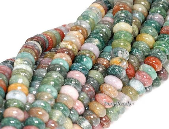 6x4mm Sanctuary Indian Agate Gemstone Grade Aaa Rondelle 6x4mm Loose Beads 15.5 Inch Full Strand (90114570-243b)